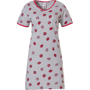 Rebelle 'kiss kiss' grey melee & lipstick red & pinky roze short sleeve 'v'-neck nightdress with lipstick red trim