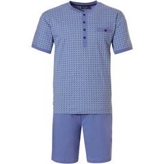 Pastunette for Men cadet blue mens shorty set 'micro dots & circles'