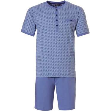 Pastunette for Men 'micro dots & circles' cadet blue & marine blue mens 80% cotton - 20 polyester shorty set with 4 buttons, chest pocket and 100% cotton marine blue shorts with an elasticated waist