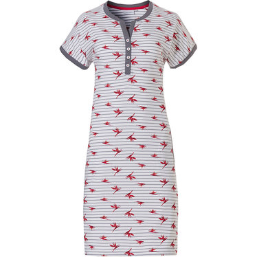 Pastunette 'paradise bird flower' white, red & grey short sleeve cotton nightdress with 4 buttons, stripes floral print and two front pockets