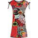 Pastunette Beach 'go disco' trendy Summer holiday 'must have', red, black, white & green capped tie-sleeved dress with trendy print! - Perfect for Summer... Home or Away!