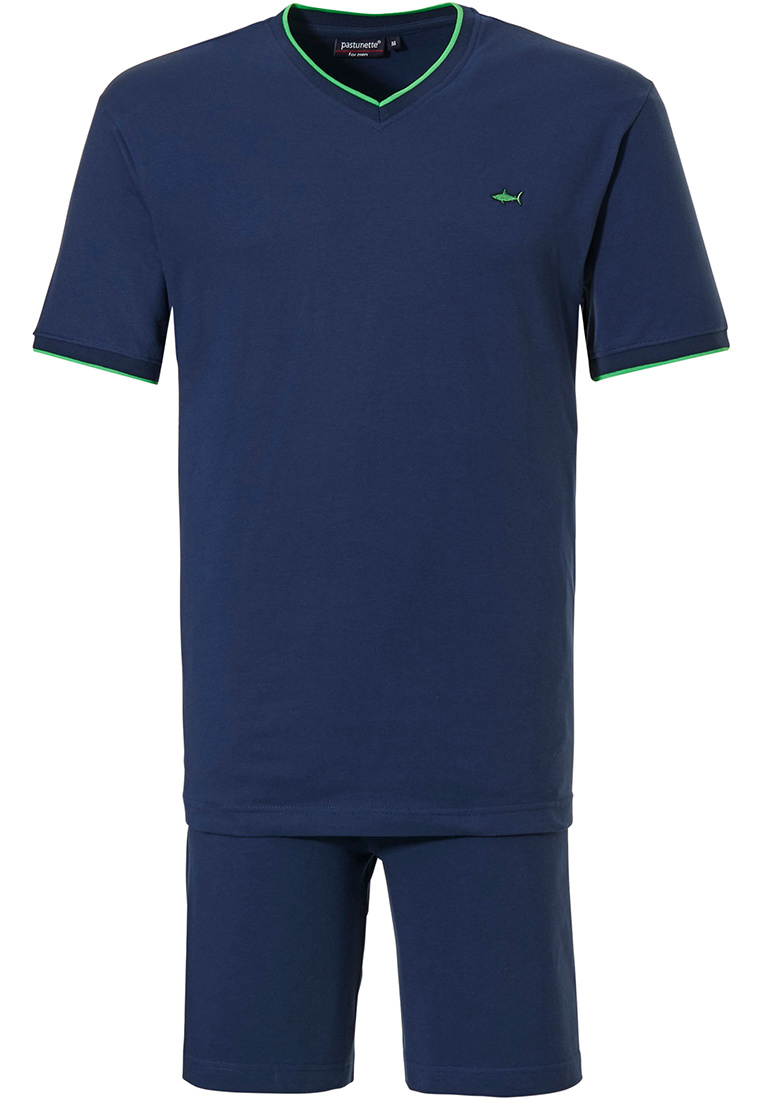 Pastunette for Men 'cool green shark, blue all the way' marine blue & green shorty set with a 'cool green shark' and blue all the way shorty