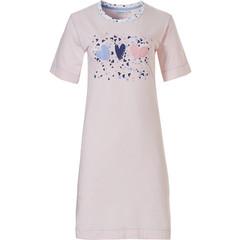 Pastunette short sleeve striped cotton nightdress '♥ sweet diamante lovehearts ♥'