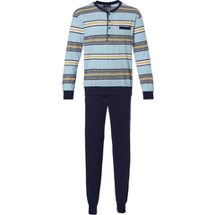 Pastunette for Men katoenen heren pyjama met boorden 'block of fine stripes'