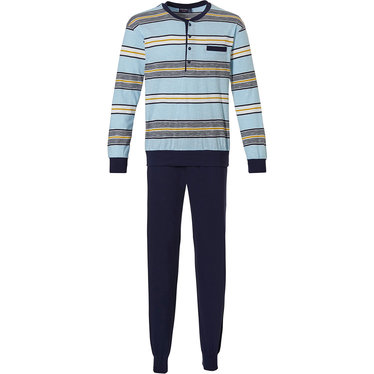 Pastunette for Men 'block of fine stripes' turquoise blue, yelllow & dark blue, 100% cotton slub yarn mens long sleeve pyjama with 4 buttons and long dark blue cuffed pants
