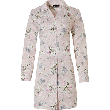 Pastunette Deluxe 'la femme fleur' romantic pink rose, soft as satin, long sleeve cuddle satin full button nightdress with revere collar, chest pocket and an all over 'la femme fleur' pretty floral pattern