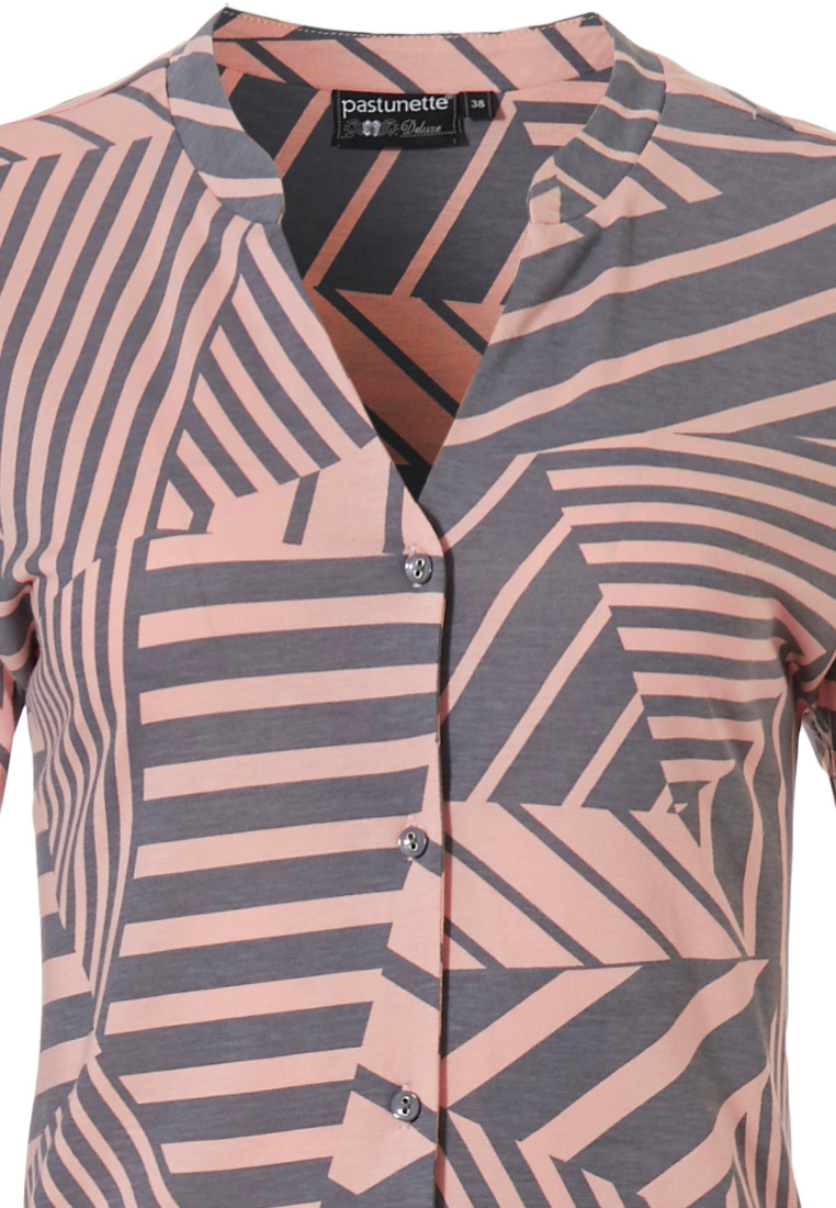 Pastunette Deluxe 'grapic art stripes' salmon pink & grey, 3/4 sleeve 50% cotton - 50% modal full button nightdress with stylish 'v' neck and an all over 'grapic art stripes' print