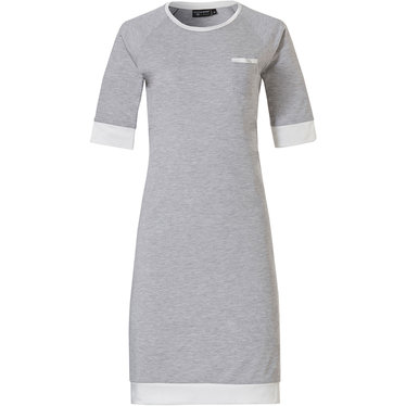 Pastunette Deluxe 'charming elegance' mid shade of grey & pure white luxury short sleeve nightdress with chest pocket and luxury pure white soft as satin trimmings