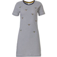 Rebelle Girls stripey short sleeve cotton girls nightdress 'buzzy honeybees'