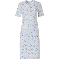 Pastunette short sleeve pure white cotton nightdress with buttons 'mysterious circles'