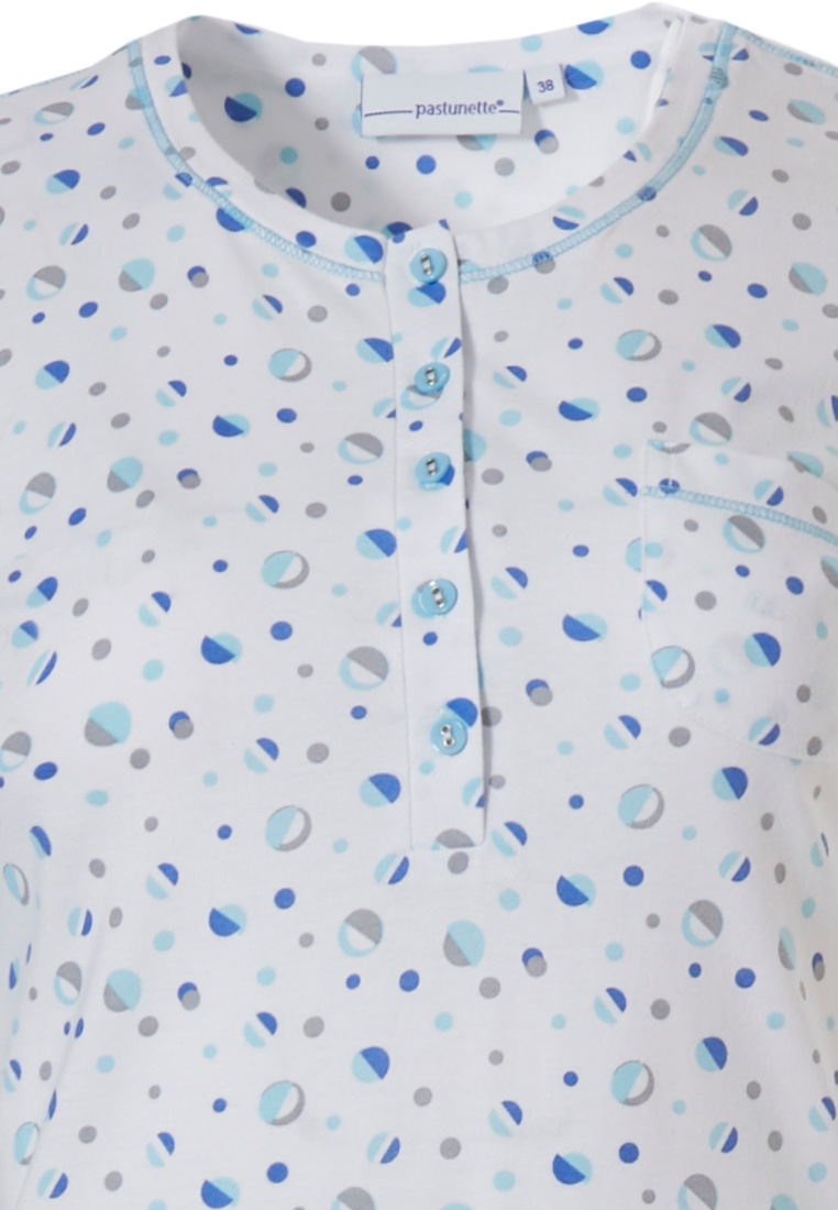 Pastunette 'mysterious circles' pure white 100% cotton short sleeve cotton nightdress with 5 buttons, chest pocket and pretty blue 'mysterious circles patten all over