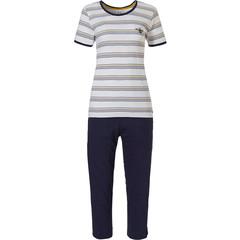 Rebelle stripey short sleeve cotton 3/4 pyjama set 'buzzy honeybees'