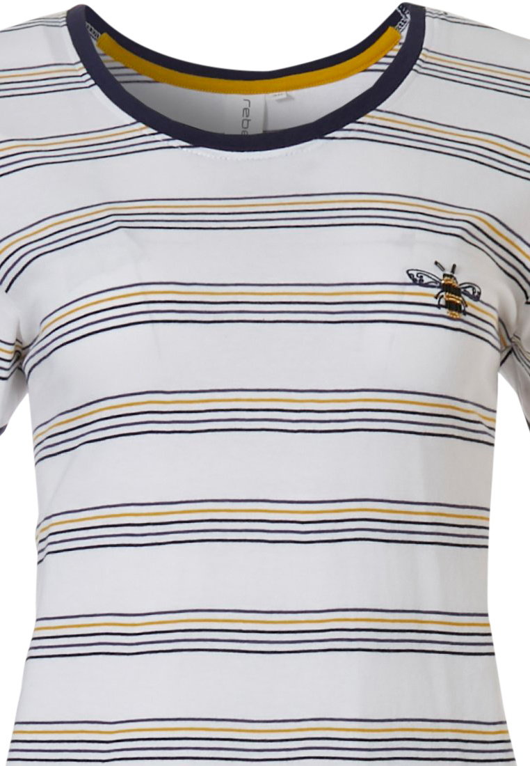 Rebelle 'buzzy honeybees' white, dark blue & yellow short sleeve cotton 3/4 pyjama set with cool stripes and 3/4 blue pants
