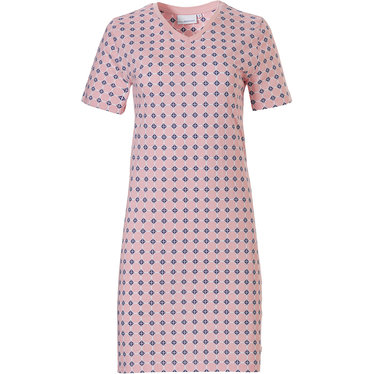 Pastunette '60's circles of fashion' pretty pale pink & grey ladies short sleeve v-neck cotton nightdress with an all over '60's circles of fashion' pattern
