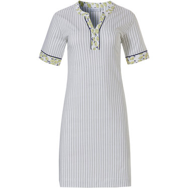 Pastunette 'fruity little lemons & stripes' pure white, pale yellow & dark blue short sleeve, ladies 100% cotton striped nightdress with a round neck with litttle 'v' and 'fruity little lemons' trimmings