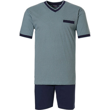 Pastunette for Men 'all linked up' light green & dark blue 100% cotton mens shorty set with 'v' neck and dark blue shorts with an elasticated waist