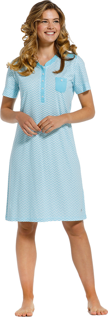 Pastunette Deluxe 'Retro ZigZag' pure white & true blue topaz ladies short sleeve cotton - modal nightdress with 5 buttons and chest pocket