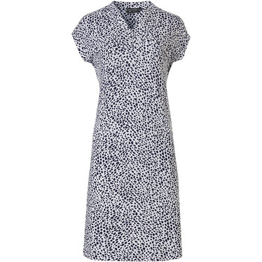 Pastunette Deluxe 'chic animal print' pure white & dark blue capped sleeve ladies homewear dress with fashionable 'v'neck, a modern all over 'chic animal print' and two chest pockets