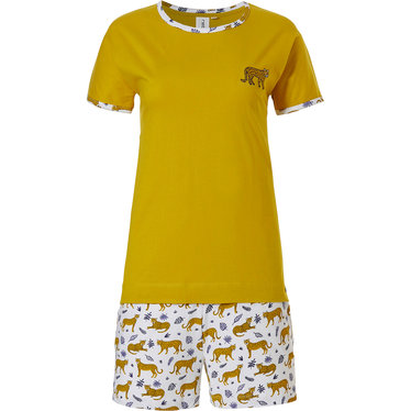Rebelle 'Rebelle wildcat' pure white & mustard short set with mustard yelllow 'Rebelle wildcat' t-shirt top and 'little wldcat 'patterned shorts with an elasticated waist