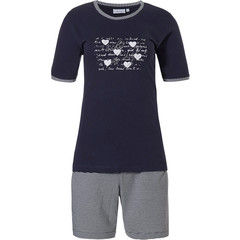 Pastunette short sleeve dark blue cotton shorty set ' ♥ Lucky in Life ♥ '