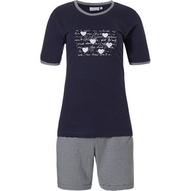 Pastunette ' ♥ Lucky in Life ♥ ' dark blue & pure white 100% cotton short sleeve ladies shorty set with pretty diamante detail on front and stripey shorts