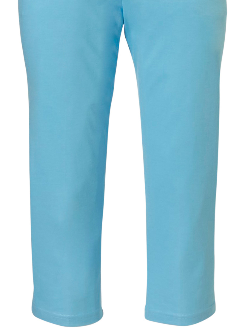 Pastunette Deluxe 'Retro ZigZag' pure white & true blue topaz ladies short sleeve cotton - modal pyjama set with 5 buttons, chest pocket and true blue topaz 3/4 pants