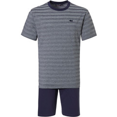 Pastunette for Men katoenen heren pyjama 'cool blue shark, stripes all the way'