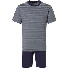 Pastunette for Men mens cotton shorty set 'cool blue shark, stripes all the way'