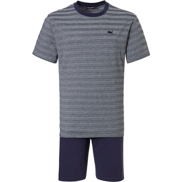 Pastunette for Men 'cool blue shark, stripes all the way' grey & dark blue mens cotton shorty set with a 'cool blue shark' and 'pique' trendy 'stripes all the way' pattern