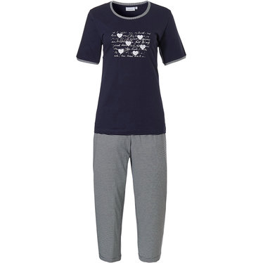 Pastunette ' ♥ Lucky in Life  ♥ ' dark blue & pure white 100% cotton short sleeve ladies pyjama set with pretty diamante detail on front and stripey 3/4 pants