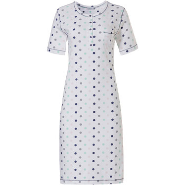Pastunette 'pretty circles' white, light sea green, grey & dark blue short sleeve 100% cotton nightdress with 5 buttons and chest pocket
