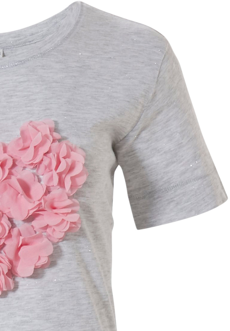 Rebelle 'pretty pink heart blooms ♥' light grey & roze pink short sleeve nightdress with a heart shaped ♥ 'pretty pink heart blooms ♥' picture on the front which look likes flowers