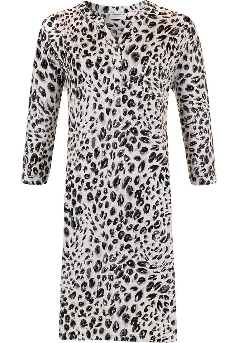 Pastunette Beach 'animal print' black & white animal print 3/4 beachdress with 3 buttons and trendy side strips