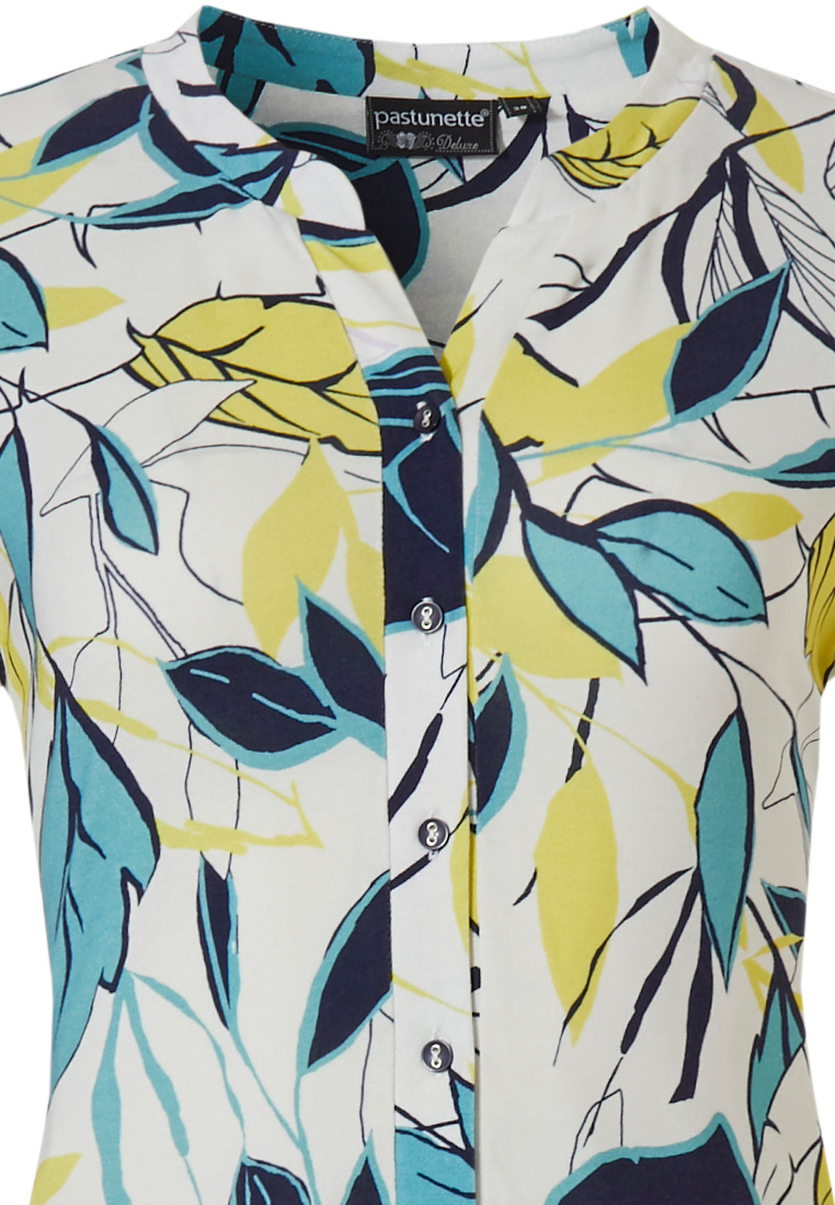 Pastunette Deluxe '70's retro vibe leaves' vibrant yellow & white short sleeve dress with little 'v',  5 buttons and fashionable 70's look