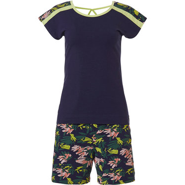 Rebelle 'jungle floral sport it up' dark blue, green & pink short sleeve shorty set with cross-strap back top and trendy 'jungle floral sport it up' patterned shorts with pockets - Be cool & Sport it up the Rebelle way!
