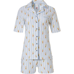 Rebelle full button cotton shorty set 'sweet little ice creams'