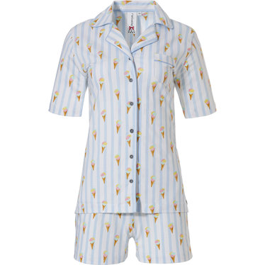 Rebelle 'sweet little ice creams' white & pale blue full button cotton shorty set with collar, chest pocket, all over pattern of verticle stripes and 'sweet little ice creams' with matching shorts