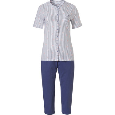 Pastunette 'origami birds' pure white & blue fine stripes, short sleve cotton full button pyjama with chest pocket and 3/4 blue pants