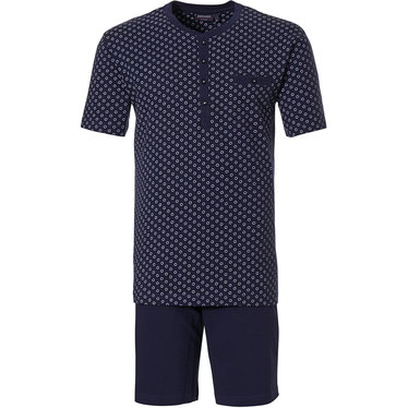Pastunette for Men 'micro circles' midnight blue & white 100% cotton mens shorty set with chest pocket, 4 buttons and midnight blue shorts with an elasticated waist