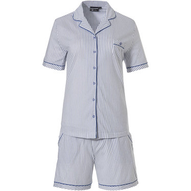 Pastunette Deluxe 'just simply stripes' pure white & mid sky blue cotton-modal full button shorty set with revere collar, chest pocket and matching shorts with pockets and all over 'just simply stripes'