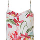 Pastunette Deluxe 'Hawaiian tropical flower' pure white & coral red, floral spaghetti dress with adjustable straps, flatterting 'v' shaped front and all over pretty 'Hawaiian tropical flower' pattern