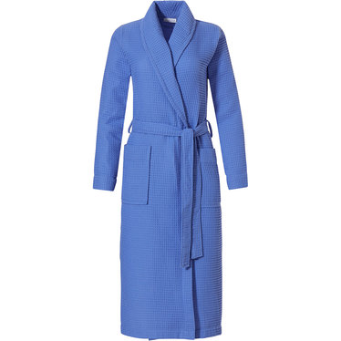 Pastunette 'square waffle design' royal blue ladies wrap-over morning gown with shawlcollar, belt and two pockets