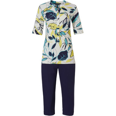 Pastunette Deluxe '70's retro vibe leaves' vibrant yellow & white short sleeve homewear set with little 'v', 5 buttons, a fashionable 70's look and 3/4 marine blue pants