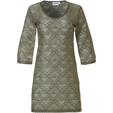 Pastunette Beach 'geometric zig zag- triangles' khaki green 3/4 sleeve beach cover-up with a trendy' geometric zig zag- triangles' pattern and see-through look