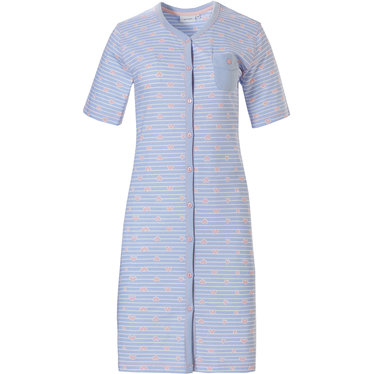 Pastunette ' ♥ heart lines  ♥' pale blue & pink stripey full button cotton nightdress with chest pocket and pretty pink '♥ heart lines ♥' pattern