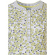 Pastunette 'fruity little lemons & stripes' pure white, pale yellow & dark blue short sleeve, ladies 100% cotton fruity nightdress with 5 buttons, all over 'fruity little lemons' pattern and striped trimmings on neckline, buttons, and sleeves