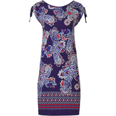 Pastunette Beach 'paisley jewels' red, white & blue beach dress with fashionable capped sleeve with adjustable tie and all over 'paisley jewels' pattern