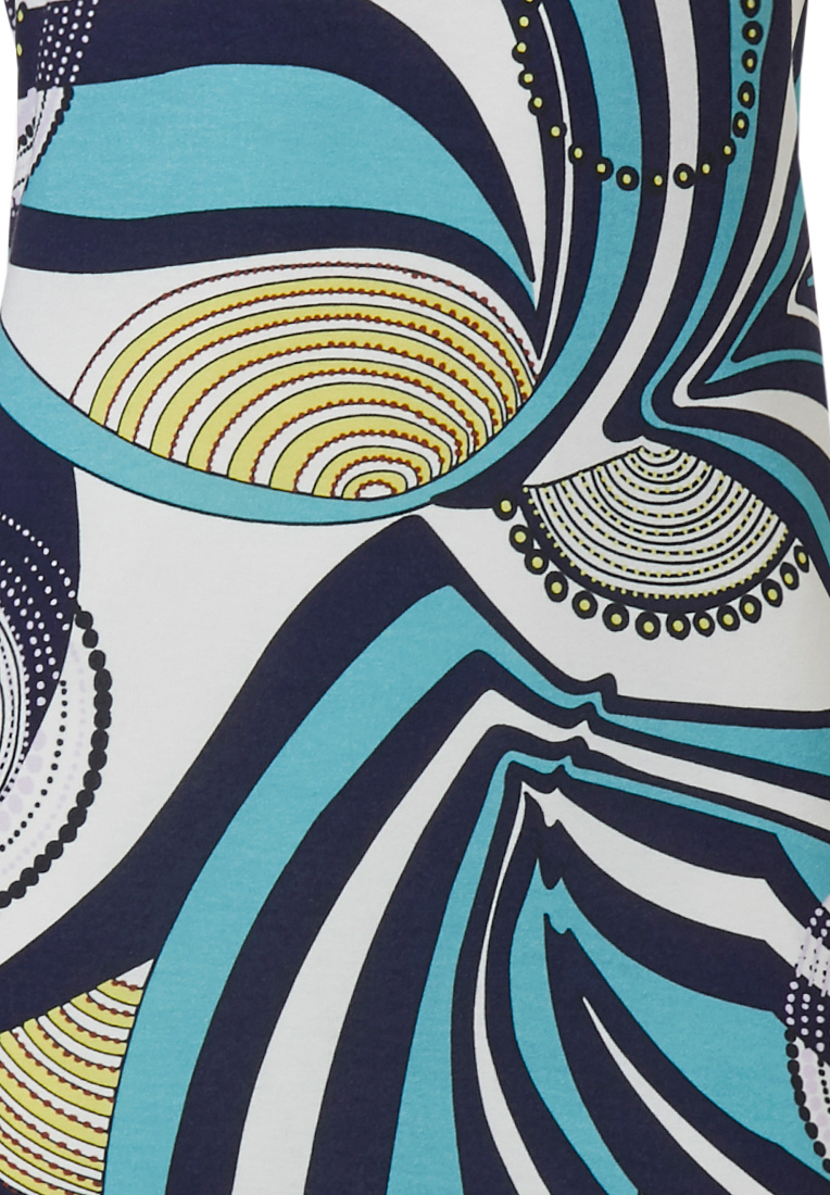 Pastunette Deluxe '70's groovy fashion' pure white & aquamarine short sleeve homewear dress with a modern all over graphic '70's groovy fashion' style pattern
