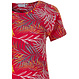 Pastunette 'pretty passion red' red short sleeve cotton pyjama set with an all over leafy pattern and matching 3/4 pants