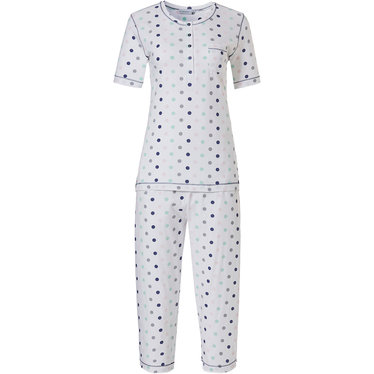 Pastunette 'pretty circles' white, light sea green, grey & dark blue short sleeve 100% cotton pyjama with 5 buttons, chest pocket and matching 'pretty circles' 3/4 pants